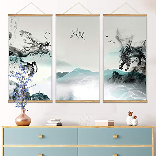 3 Panel Hanging Poster with Wood Frames Ink Painting Style Chinese Dragon Decorative x 3 Panels