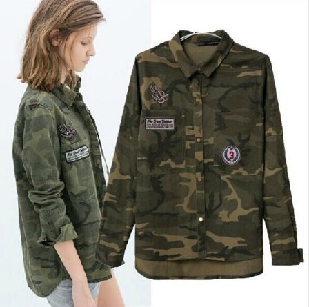 Jacket Women Military Camouflage Blouse Coat Casual Fashion Jaqueta Feminina Chaquetas Mujer Size:S (Hat Gucci Canvas)