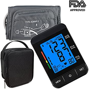 Blood Pressure Monitor,KUMEDA FDA Approved Automatic Digital Upper Arm Style Blood Monitor with Gray Cuff(Fits 8.7
