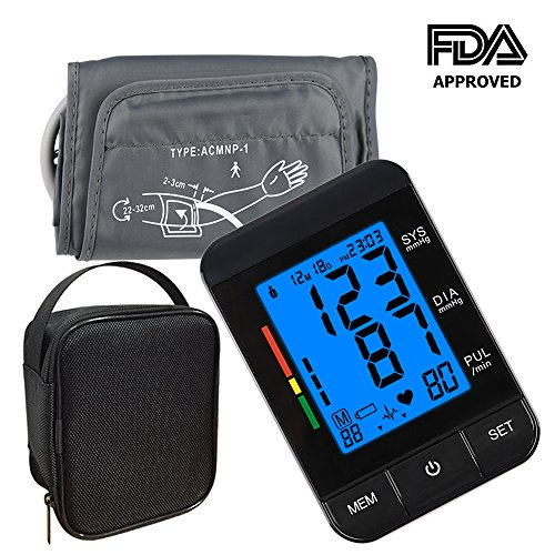 Blood Pressure Monitor,KUMEDA FDA Approved Automatic Digital Upper Arm Style Blood Monitor with Gray Cuff(fits Standard and Large Arms) Included Carrying Case and USB Port Data Cable