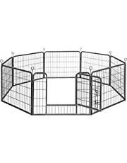 FEANDREA 8-paneel huisdier box, Heave-Duty Dog Enclosure, 77 x 60 cm, Grijs PPK86G