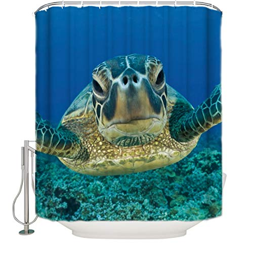 Ocean Animals Decor Shower Curtain Underwater Diving Sea Turtle Nature Animal Swimming Print Bathroom Decor Polyester Fabric Shower Curtains with Hooks, 36 x 72 Inch