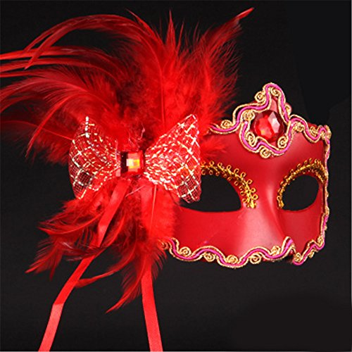 JinYiDian'Shop-Halloween mask Make-up Dance Show Painted Feathers Half face lace Beautiful Princess Butterfly Knot Masks,red -