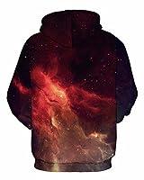 GLUDEAR Unisex Realistic 3D Digital Print Pullover Hoodie Hooded Sweatshirt,Flame Space,L/XL