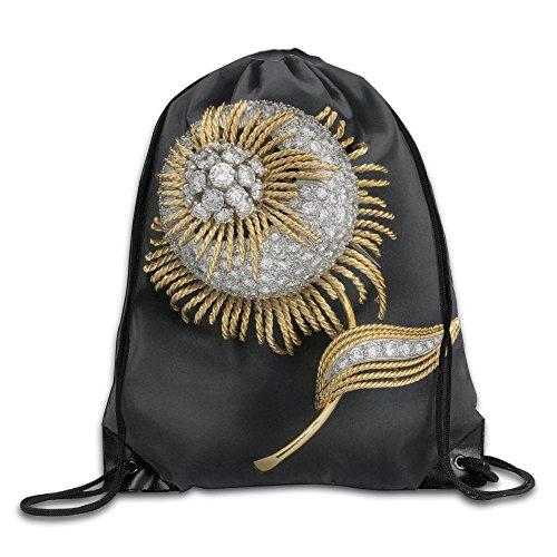 Yishuo Diamond Studded Gold Flower Brooch 24024709 Drawstring Pack Beam Mouth Gym Sack Shoulder Bags For Men & Women
