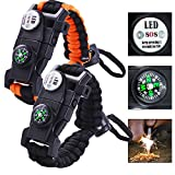 Paracord Survival Bracelet LED SOS Emergency Paracord Bracelet Featured Outdoor 15 in 1 Tactical Emergency Survival Kits Bracelet for Hiking Camping Hunting