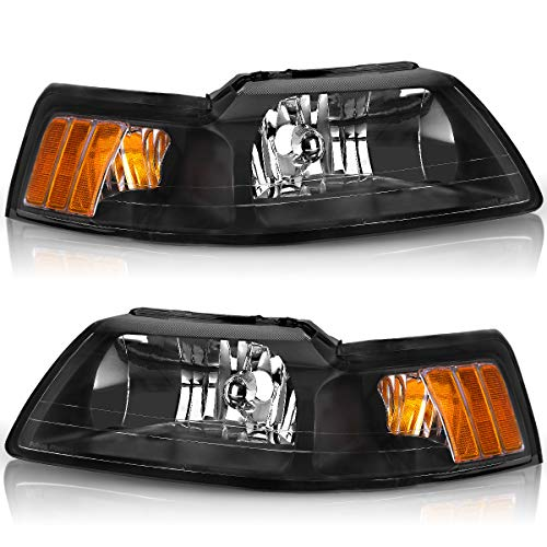 For 1999-2004 Ford Mustang Headlights OEDRO Black Housing with Amber Reflector Headlight/Lamp Set Left+Right, 2-Yr Warranty
