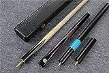 """Handmade 58"""" 3/4 Piece Black Ebony Snooker Cue+Case+2 Extensions"""