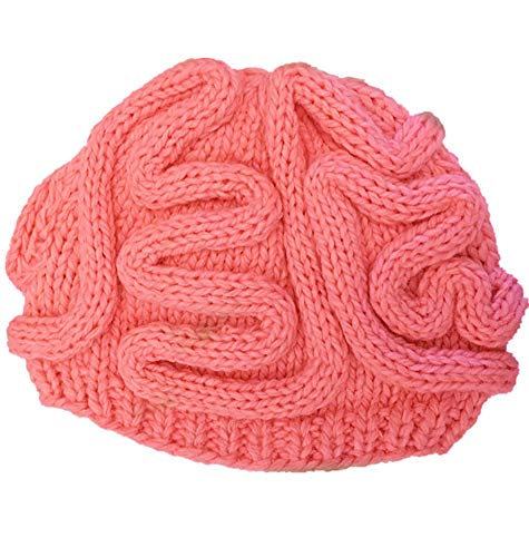 Ababalaya Men Women Halloween Funny Hat Zombie Pink Brain Knitted Skull Cap -