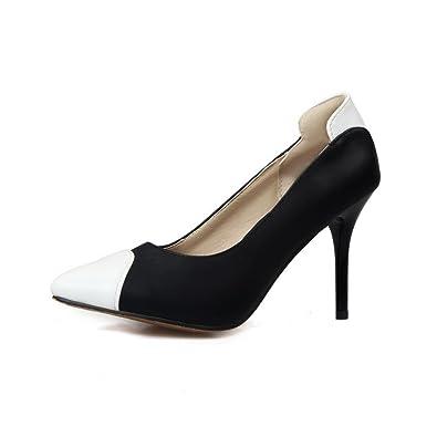 0420e9f9dfb5f8 Odomolor Damen PU Leder Gemischte Farbe Ziehen auf Spitz Zehe Hoher Absatz  Pumps Schuhe