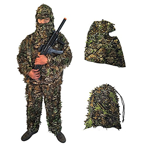 BESTHUNTINER Woodland Lightweight 3D-Leafy Suits Ghillie Suits Camo Camouflage Clothing Camo Suit Jungle Hunting Four Parts Jacket&Pants&Facemask&Carry Bag Adult Size One Size Fit All (Cheap Camo Hunting Pants)