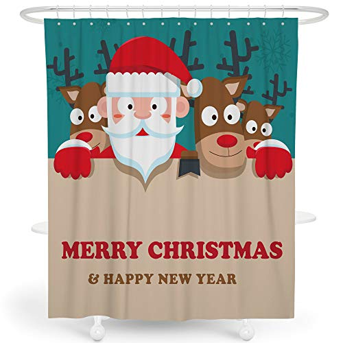 LIVETTY Christmas Shower Curtains Bathroom Brown Cartoon Cute