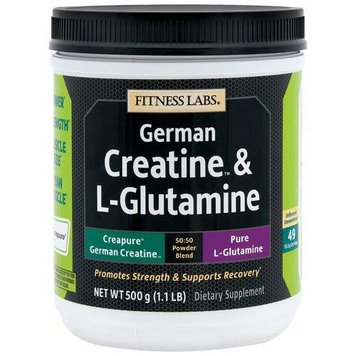 Fitness Labs Creatine and L-Glutamine, 500 Grams | Contains Only Pure Creapure Creatine Monohydrate & USA-Made Fermented Glutamine (Kre Alkalyn Creatine Powder)