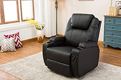 MCombo Modern Massage Recliner Vibrating Sofa Heated Electric Leather Lounge Chair Black