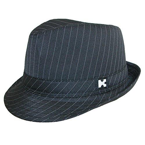 Kenny K Boys' Black Pinstripe Dressy Fedora Hat, Black With White Black Pinstripe Fedora