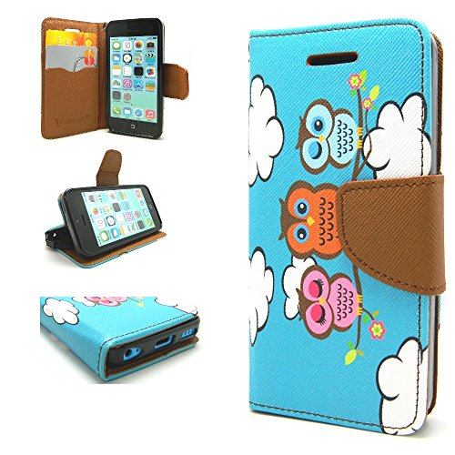 iPhone 5C Case, Wallet Credit Card ID Holder Folio Book Type Kickstand View Hybrid for Apple iPhone 5C by Case Loca (Owls Teal Blue)