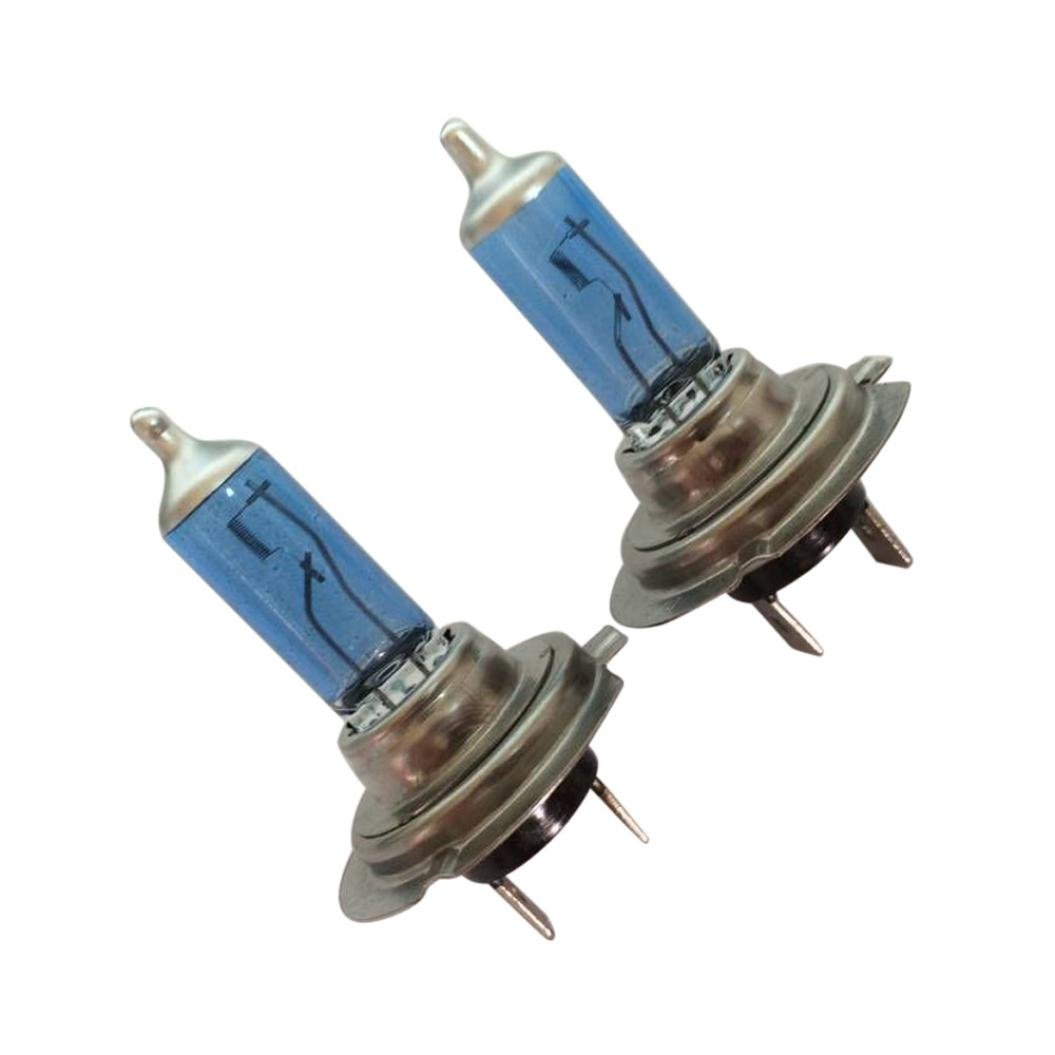 Quaant Car Light,New 2pcs 12V Xenon Bright H7 55W 6000K Gas Halogen Headlight White Light Lamp Bulbs (Blue)