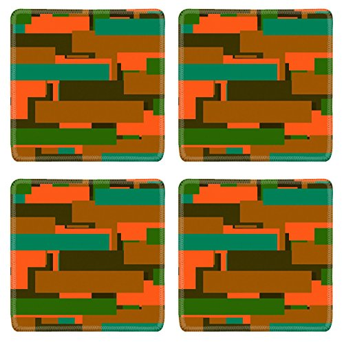 Liili Square Coasters Orange Abstract Stripes Texture 28963592