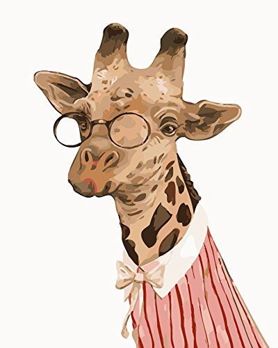 USAC Diy Oil Painting By Numbers For Adults PBN Kit for Girls Kids Christmas Gift Giraffe(TY042, Frameless 16X20 Inches)