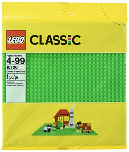 LEGO Classic Green Baseplate Supplement for Building, Playing, and Displaying LEGO Creations, 10cm x 10cm, Large Building Base Accessory for Kids and Adults ()
