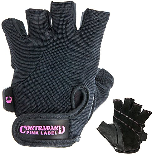 Contraband Pink Label 5057 Womens Basic Lifting Gloves (Pair) - Light-Medium Padded Durable Leather Palm Fingerless Classic Workout Gloves Designed & Sized for Women (Black, Small)