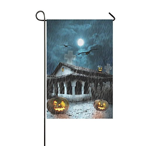 Pingshoes Halloween Haunted Old House Polyester Garden Flag House Banner 12 x 18 inch, Pumpkins Decorative Flag for Party Yard Home Outdoor Decor -