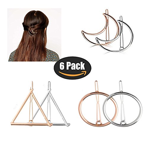 Hair Clips for Women Girls- Gold Silver Hollow Triangle Geometric Metal Hairpin Clamps Accessories Barrettes Bobby Pin Ponytail Holder Gift Idea