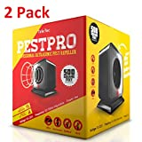 Set of 2 PestPRO Professional Electronic Pest Repeller by TinkrTec with Adjustable Frequency – Ultrasonic Pest Repellent - Natural and 100% Safe! ()