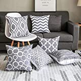 Modern Homes Grey 100% Cotton Decorative Throw Pillow Covers...