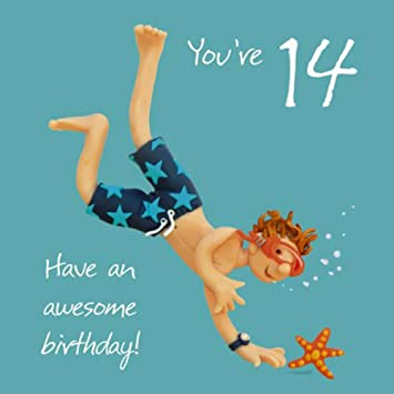 Boys 14th Birthday Greeting Card One Lump Or Two Range Holy Mackerel