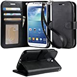 Galaxy S4 Case, Arae Samsung Galaxy S4 wallet case, [Wrist Strap] Flip Folio [Kickstand Feature] PU leather wallet case with ID&Credit Card Pockets For Samsung Galaxy S4 I9500 (Black)