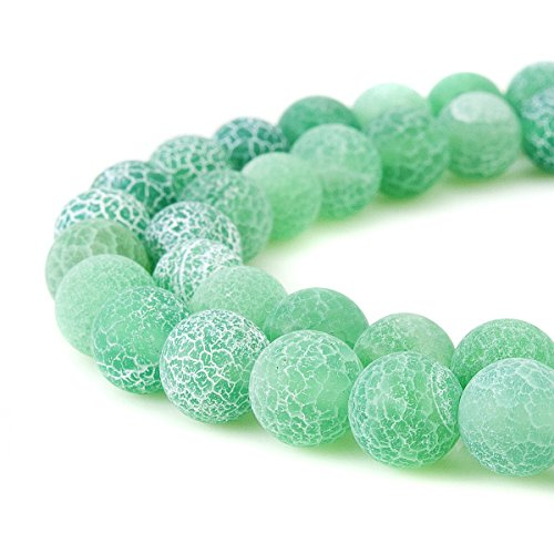 6mm Green Frosted Crackle Dragon Vein Agate Beads Round Semi Precious Gemstone Loose Beads for Jewelry Making (63-66pcs/strand)