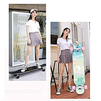 SHATONG Literary Youth Four-Wheel Highway Trendy Longboard Dimensional Girl Surfing Road Scooter Beginners Entry Professional Skateboard Student Wood Dance Travel Board (Color : D) : Sports & Outdoors