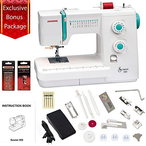 Janome Sewist 500 Sewing Machine w/3- Piece Bonus Kit (Janome Sewing Kit)