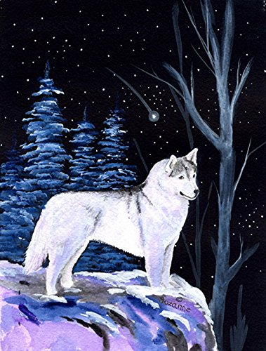 Caroline's Treasures SS8400CHF Starry Night Siberian Husky Flag Canvas, Large, Multicolor
