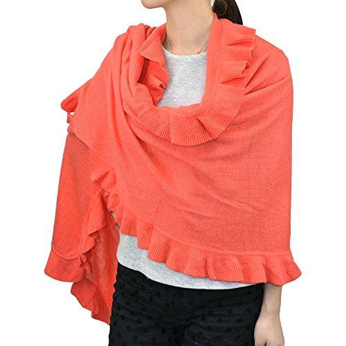 Ruffle Trim Knit Shawl Wrap (Coral)