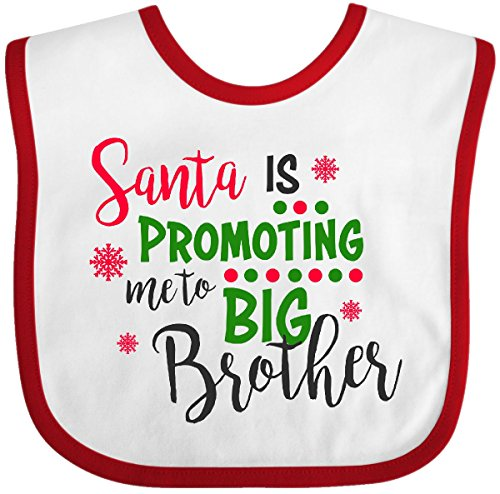Inktastic - Santa is Promoting me to Big Brother Baby Bib White/Red 2df37 ()
