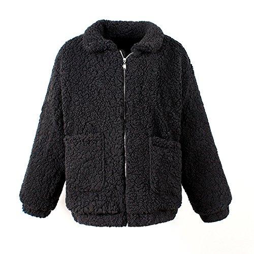 Gilet Trenche Blouson Manteau Artificielle Longues Femme À Epais Revers Fille Veste Chaud Manches Noir Hiver Fourrure Zippé qp7Ffqw