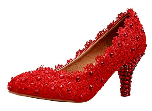 6cm Shoes Slip Heel Wedding MZLL024 Women's Handmade Pumps Party Red on Prom Evening Minitoo Satin qTZPWxOO6