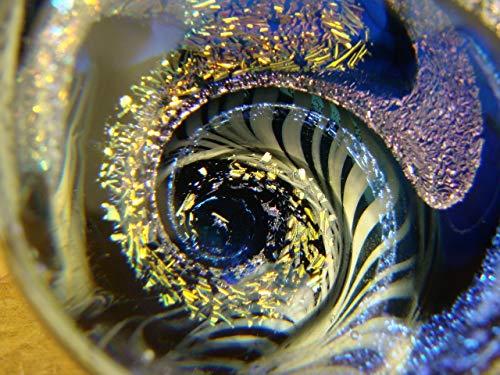 Large Dichroic Glass Vortex Marble Intense Wig Wag Latticino Illusion Orb Spiral Purple Blue Gold by Tim Mazet
