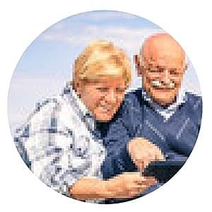 alfombrilla de ratón feliz pareja de edad se divierten con una tableta en la playa - ronda - 20cm