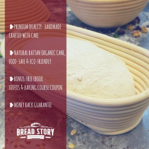 (14x6 inch) Oval Proofing Basket Set by Bread Story– Oval Banneton/Brotform Handmade Unbleached Natural Cane Bread Baking Kit with Cloth Liner - Course Discount, & Coupon by Bread Story (Image #2)