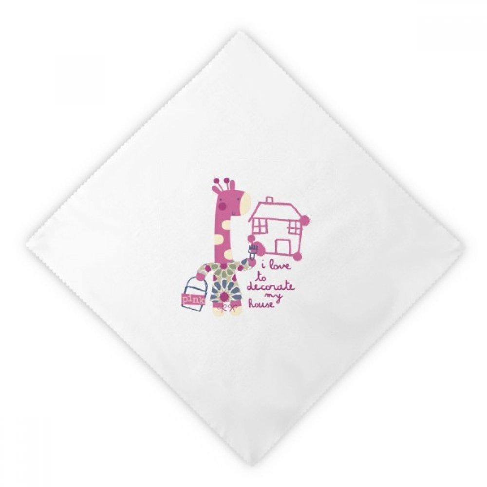 DIYthinker Decorate House Giraffe Pink Cartoon Animal Dinner Napkins Lunch White Reusable Cloth 2pcs