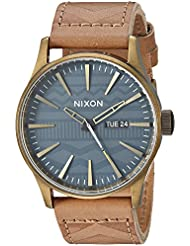 Nixon Mens Sentry Leather Quartz Stainless Steel Casual Watch, Color:Brown (Model: A1052731)