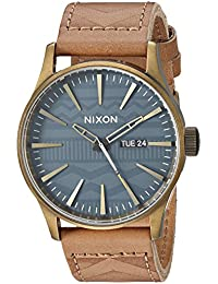Men's 'Sentry Leather' Quartz Stainless Steel Casual Watch, Color:Brown (Model: A1052731)