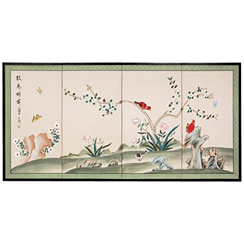 "Oriental Furniture 36"" Red Birds Courting"