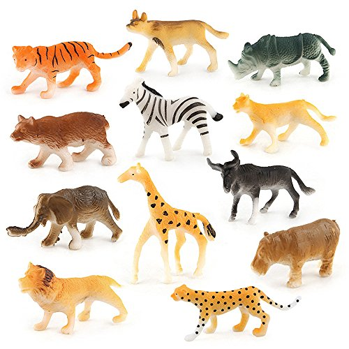 XEDUO Toy for 3 4 5 6 7 8 9 +Years Old Kids Girls Boys, 12pc Kids Childrens Assorted Plastic Toy Wild Animals Jungle Zoo Figure (Multicolor)