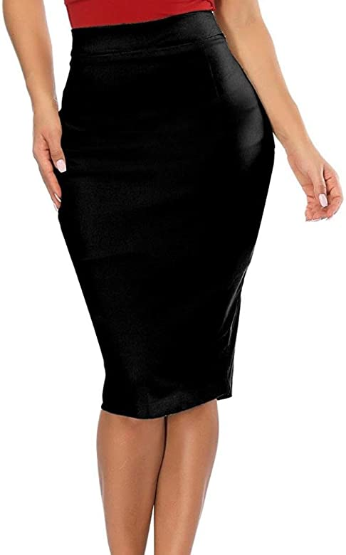 Lady Office Bodycon Skirts,Hemlock Women Plus Size Skirts High Waisted  Stretchy Pencil Skirt Workout Midi Dress Suits