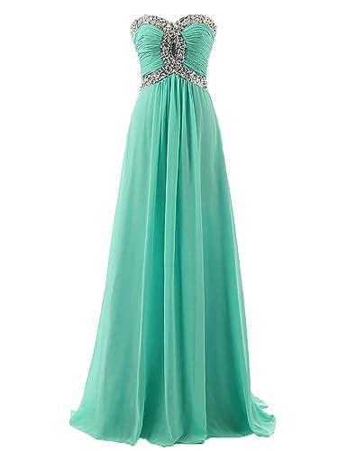 Erosebridal Long Chiffon Prom Dress Evening Gown Crystal Beaded