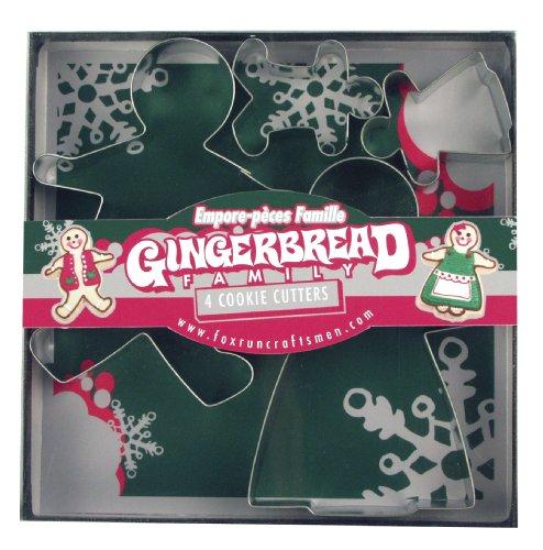 Fox Run 3663 Gingerbread Family Cookie Cutter Set, Silver